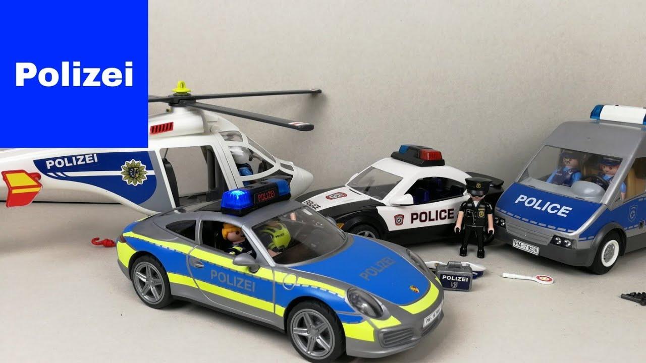 playmobil polizei feuerwehr krankenwagen polizeiauto auspacken porsche 70067. Black Bedroom Furniture Sets. Home Design Ideas