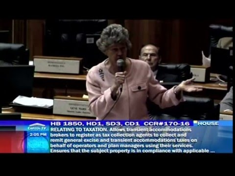 Rep. Thielen addresses HB1850, the Airbnb bill, relating to the Transient Accommodation Tax