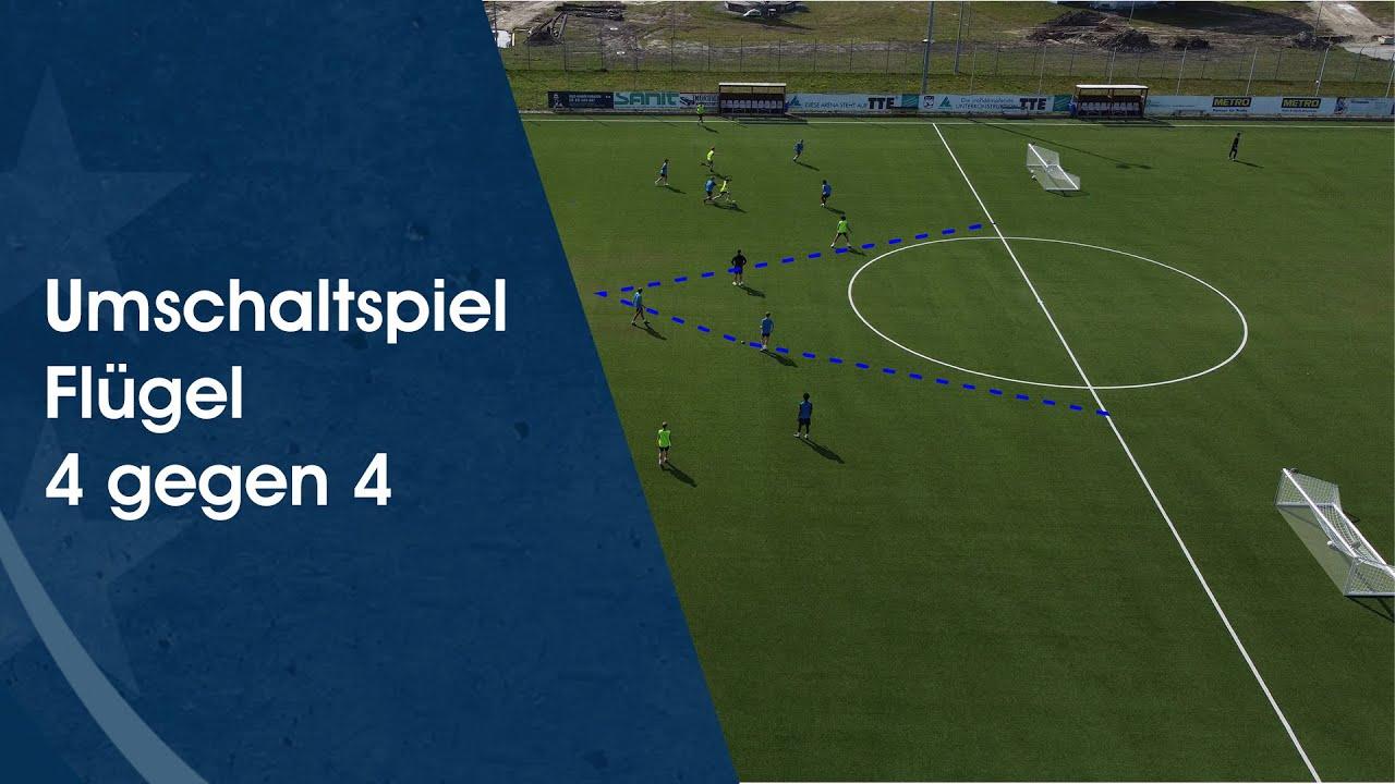 Umschaltspiel Flügel 4 gegen 4 – Fußballtraining am Deutschen Fußball Internat