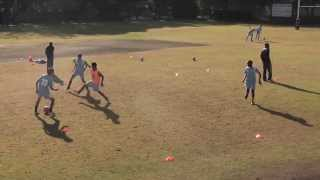 3vs1 possession game in soccer association football in 8 by 8m grid