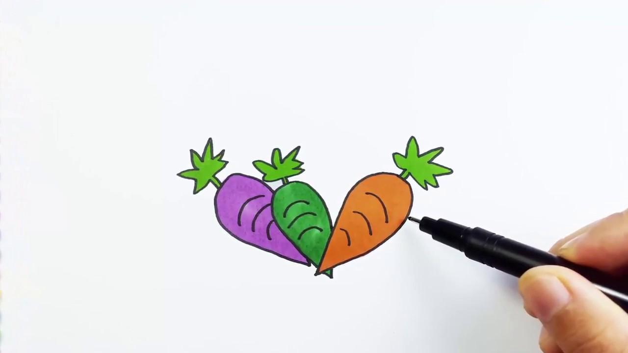 Belajar Menggambar Dan Mewarnai Wortel Untuk Anak Youtube