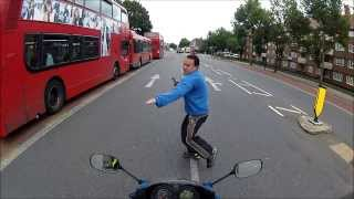 Episode 5. Epic pedestrian fail very nearly ends in brown underwear and serious collision with biker