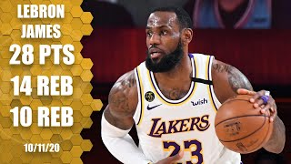 Check out highlights of lebron james in game 6 the 2020 nba finals as he records a triple-double 28 points, 14 rebounds and 10 assist for los angel...