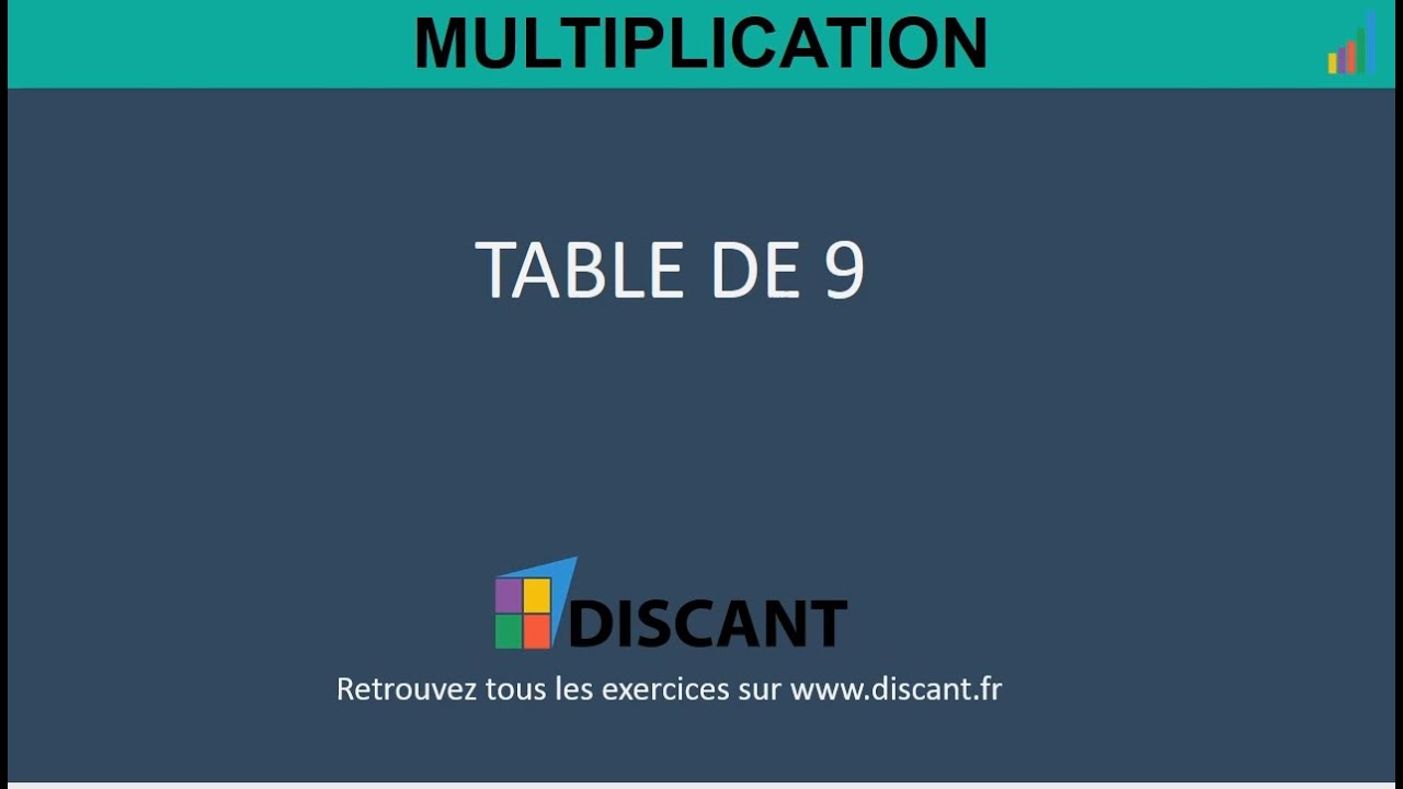 Table de multiplication de 9 nombre 0 5 exercices youtube for Exercice de multiplication