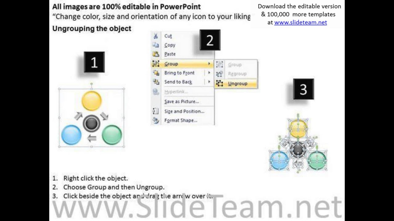 consulting powerpoint template 3 cs unidirectional process for