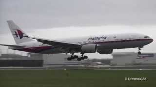 Malaysia Airlines B777-200ER landing and takeoff at Amsterdam Schiphol Airport