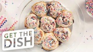 Funfetti Cake Batter Cinnamon Rolls Recipe | Get the Dish