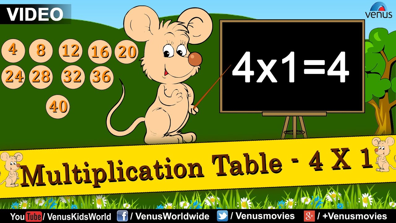 Multiplication table 4 x 1 multiplication rhymes for kids multiplication table 4 x 1 multiplication rhymes for kids youtube gamestrikefo Images