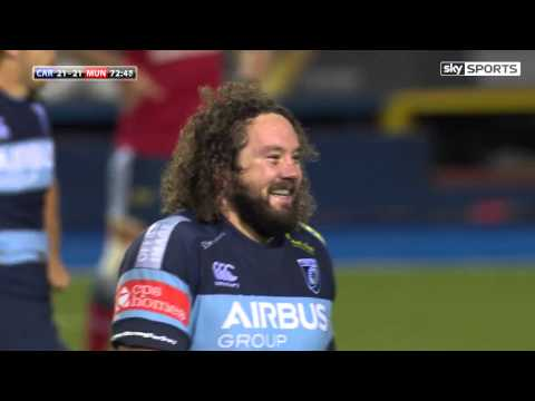 Adam Jones' Amazing Drop Goal Attempt - Cardiff Blues V Munster