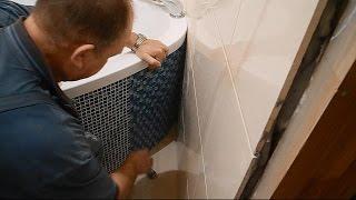 Монтаж угловой,акриловой ванны ч.6(В ролике показано как в коробе-экране под ванной,облицованном мозаикой,изготовить скрытый люк-панель для..., 2014-12-15T18:20:34.000Z)