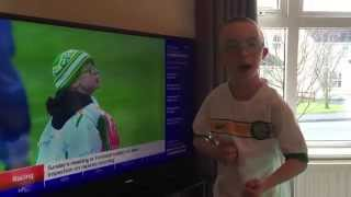 Jay Beatty reacts to Goal of the Month winner announcement