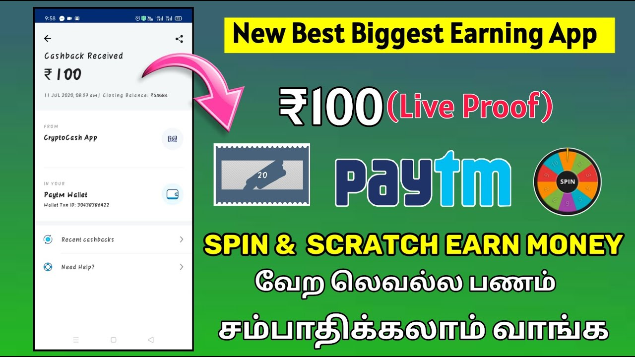 🔰₹100(Live Proof )☢️Spin & scratch Unlimited Money Earning App || New Best Biggest Earning app Tamil