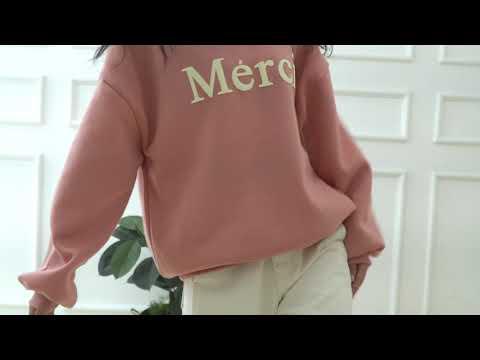 발포 레터링 기모 데일리 맨투맨 44 55 66 77 88 겨울 기본 긴팔티  M929 - 핑크