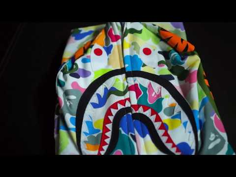 Bathing Ape (BAPE) Multi Camo Shark Hoodie Unboxing & Review!