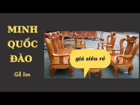 17tr800 2 Bộ Bàn Ghế Phòng Khách .Gỗ Lim Nam Phi Tay 12 Minh Đào.Dáng Đồng Kỵ 2019