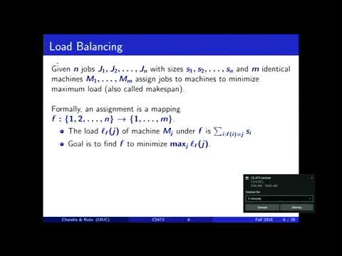 2016 11 30 Approximation algorithms: Load balancing, Set Cover