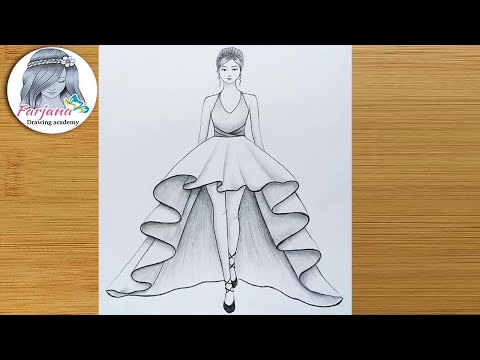 how-to-draw-a-girl-with-beautiful-dress-for-beginners-||-drawing-tutorial-||-كيفية-رسم-فتاة
