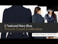 5 Featured Navy Blue Trench Coats Collection Amazon Fashion, Winter 2017