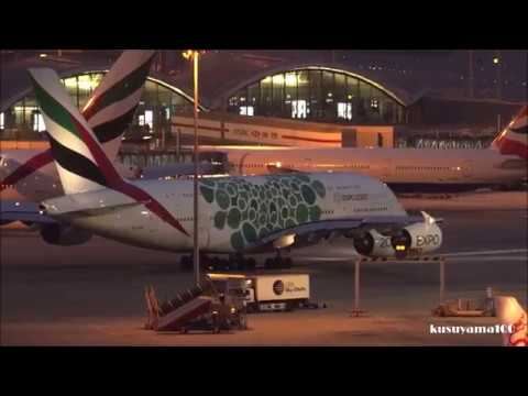 ✈✈Night Take-off Emirates Dubai 2020 Expo Green Livery Airbus A380-861 Hong Kong  Airport