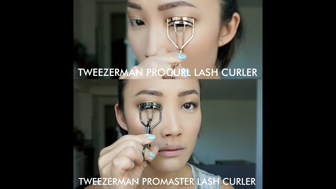Tweezerman PROCURL LASH CURLER vs PROMASTER LASH CURLER DEMO - YouTube
