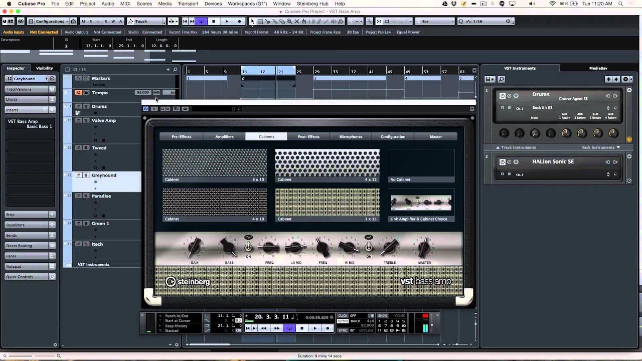 VST Bass Amp   Cubase Pro 8 Q&A with Greg Ondo