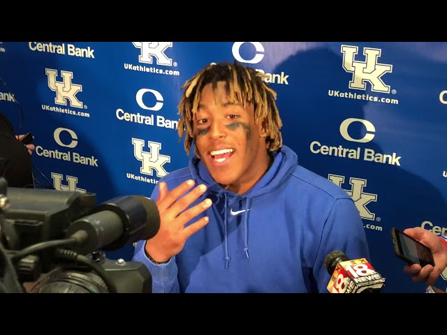 Benny Snell talks to the media following Kentucky's victory over South Carolina