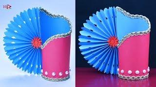 Easy Making Paper Flower Vase | Handmade Beautiful Paper Flower Pot at Home | DIY Simple Paper Craft