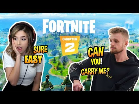 Pokimane and Fitz play Fortnite  + Their First Win in Fortnite chapter 2