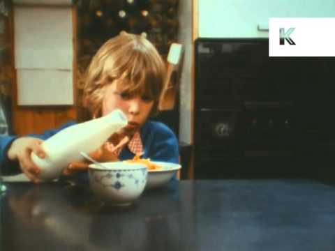 1970s Boy Eating Breakfast Cereal Corn Flakes