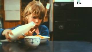 1970s Boy Eating Breakfast Cereal, Corn Flakes