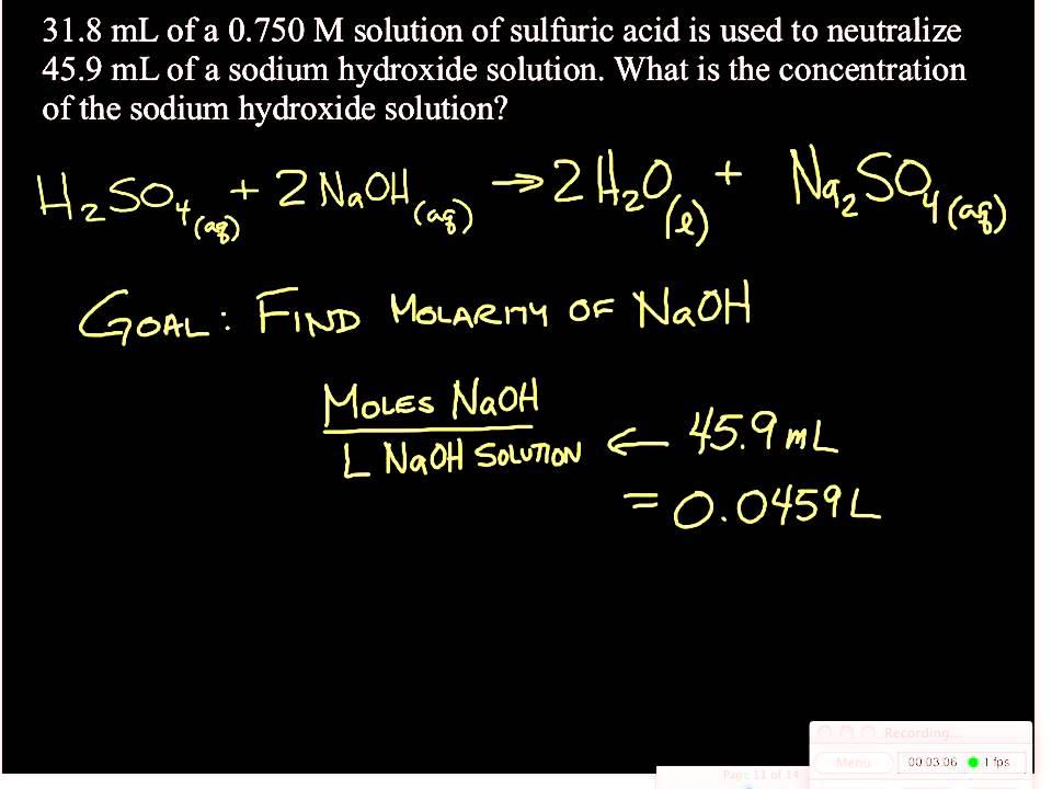 Acid Base Titration Problem 1 Youtube
