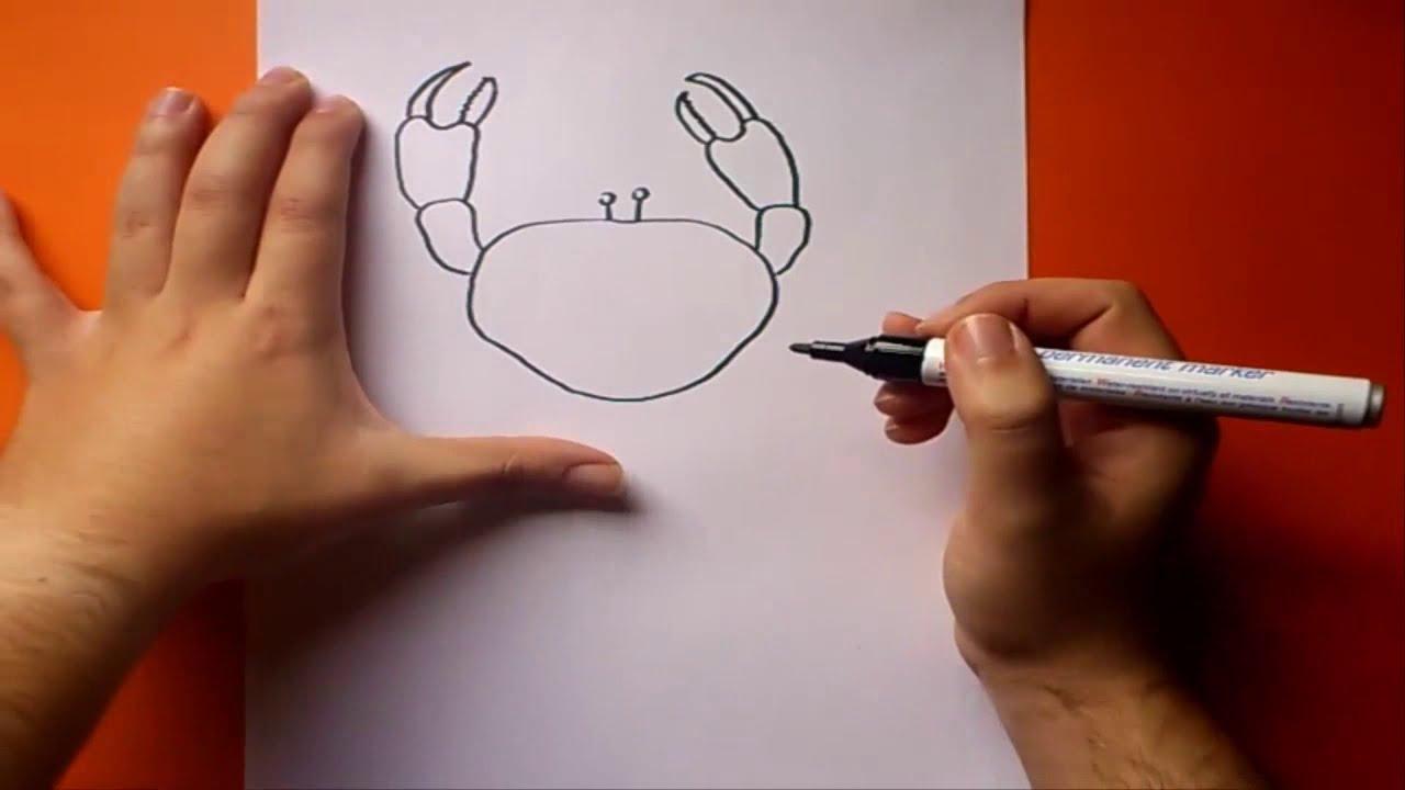 Como dibujar un cangrejo paso a paso how to draw a crab for Un mural facil de hacer