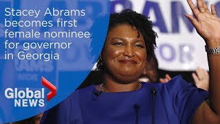 Stacey Abrams becomes first female nominee for governor in Georgia