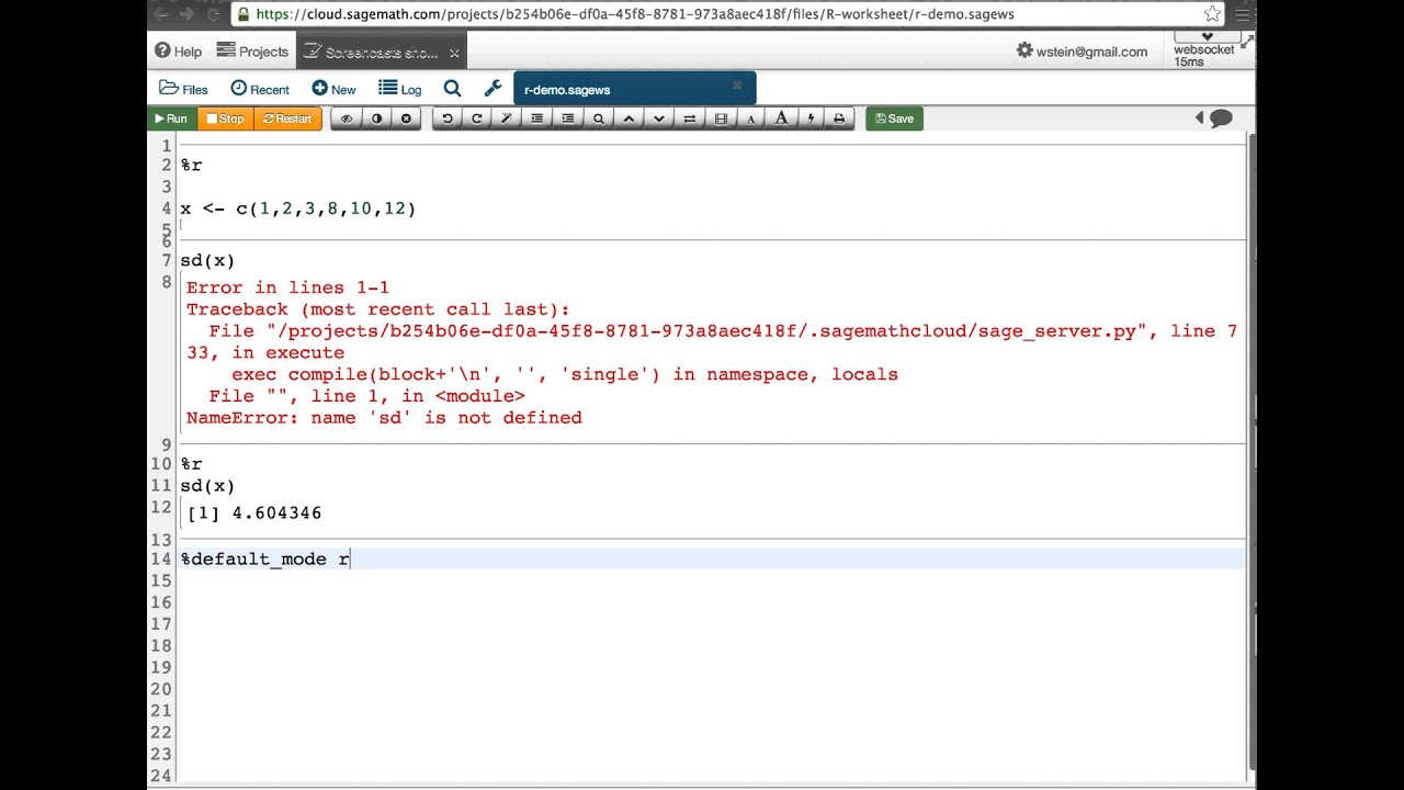 Using R In A Sage Worksheet From Sagemathcloud
