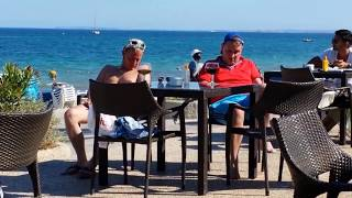 DRUNK ENGLISH TOURISTS IN IBIZA FALL OVER TABLE