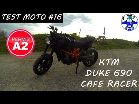 test moto 16 ktm duke 690 cafe racer permis a2 youtube. Black Bedroom Furniture Sets. Home Design Ideas