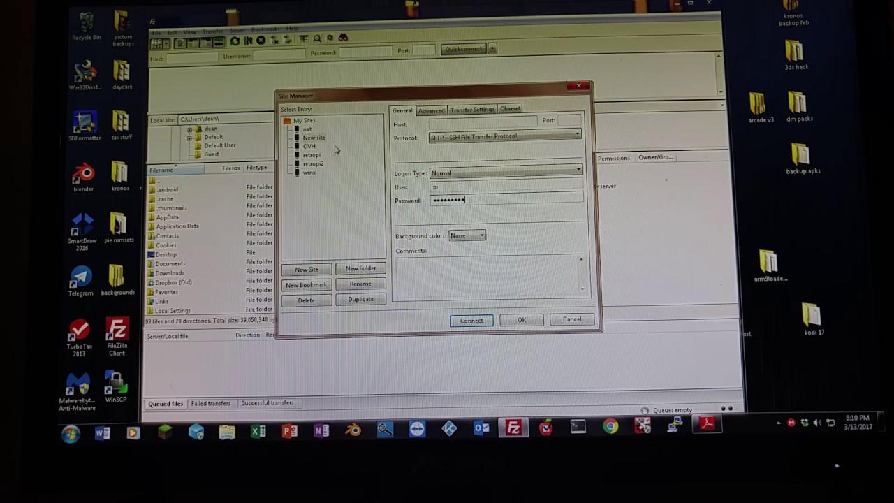 Using filezilla to send files to raspberry pie