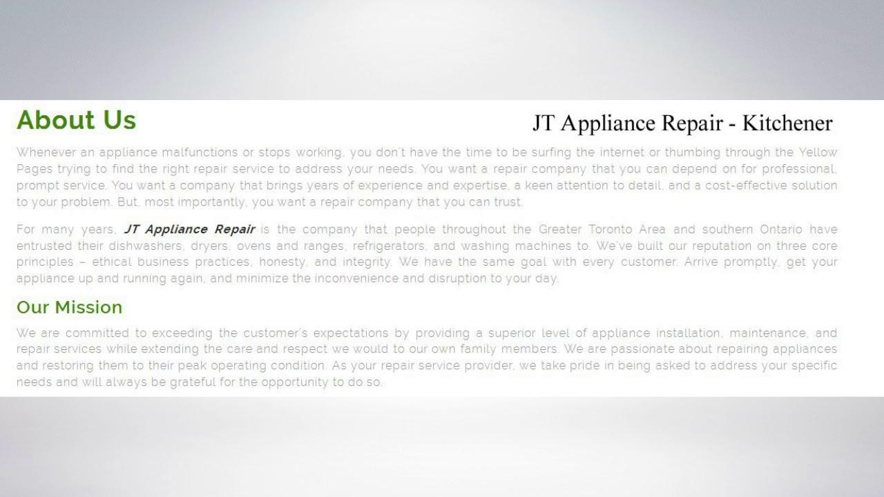 Best Appliance Repair Kitchener   JT Appliance Repair - YouTube