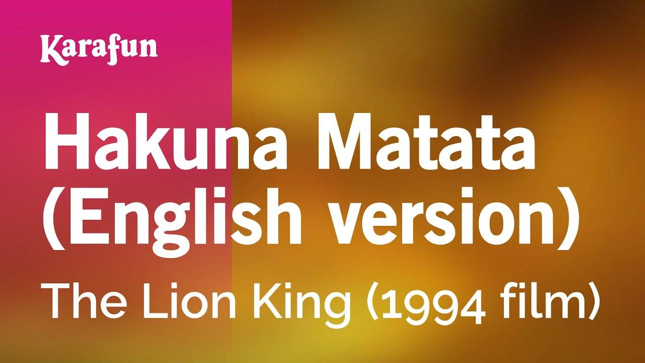 Karaoke Hakuna Matata English Version The Lion King Youtube