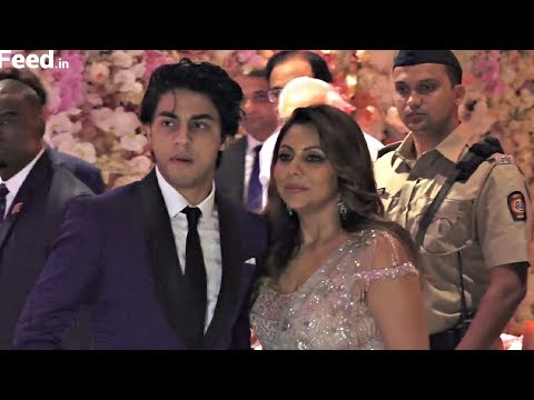 Shahrukh Khan Wife Gauri Khan And Son Aryan Khan At Akash Ambani And Shloka Mehta Engagement Party