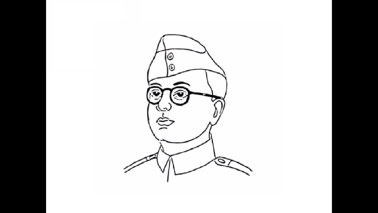 How To Draw Subhash Chandra Bose Face Drawing Step By Step Youtube
