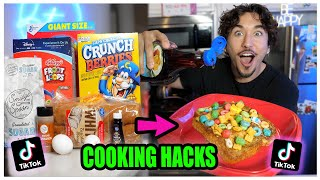 We TASTED Viral TikTok Cooking Life Hacks... (CEREAL FRENCH TOAST?) *Part 8*