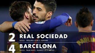 Real sociedad 2x4 Barcelona-Melhores momentos-(HD)-campeonato espanhol(lá liga) 17/18!