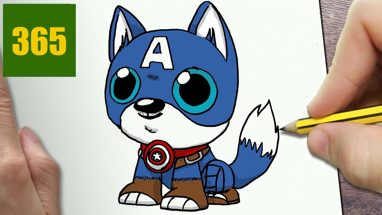 Comment Dessiner Chien Captain America Kawaii étape Par étape Dessins Kawaii Facile