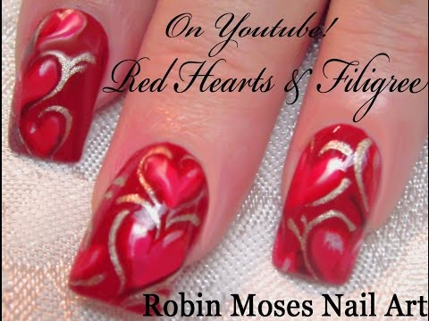 Valentine's Day Nail Art Tutorial | Red Heart Nails with Filigree Design