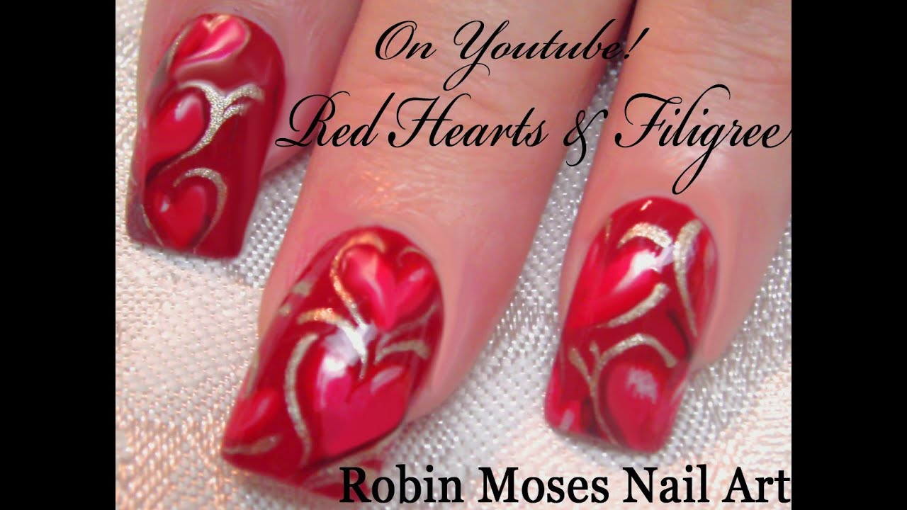 Valentines Day Nail Art Tutorial Red Heart Nails With Filigree