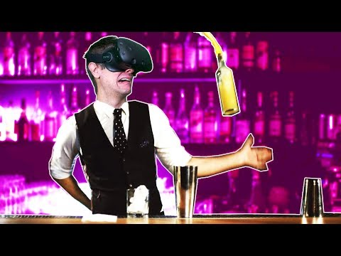 MIXING DRINKS + BUILDING THE BEST MONEY MAKING BAR IN VR! - Flairtender VR HTC VIVE Gameplay