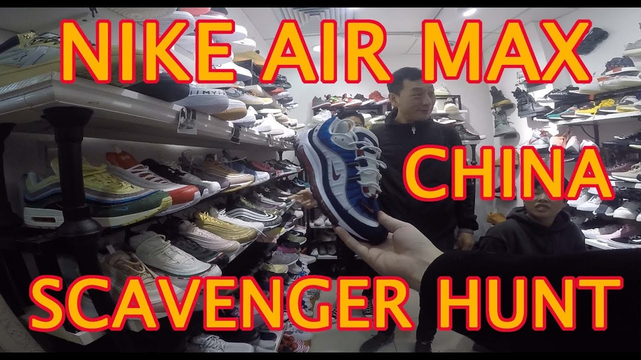 Bloquear Punto muerto Susceptibles a  NIKE AIR MAX SCAVENGER HUNT REPLICA FAKE MARKET GUANGZHOU CHINA. AIR MAX  DAY / MONTH, SHOES SPREE - YouTube