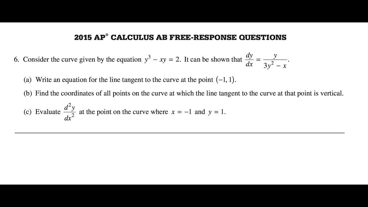 2015 AP Calculus AB Free Response question 6