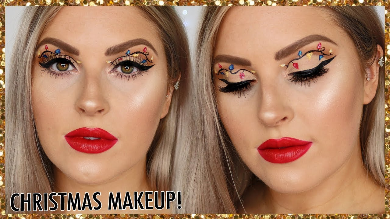 Christmas Lights Makeup Tutorial Easy Christmas Glam Youtube
